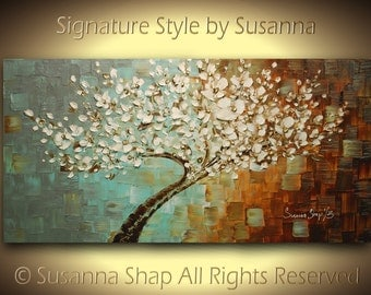 original cherry blossom tree painting modern palette knife landscape 48x24 by susanna made to order