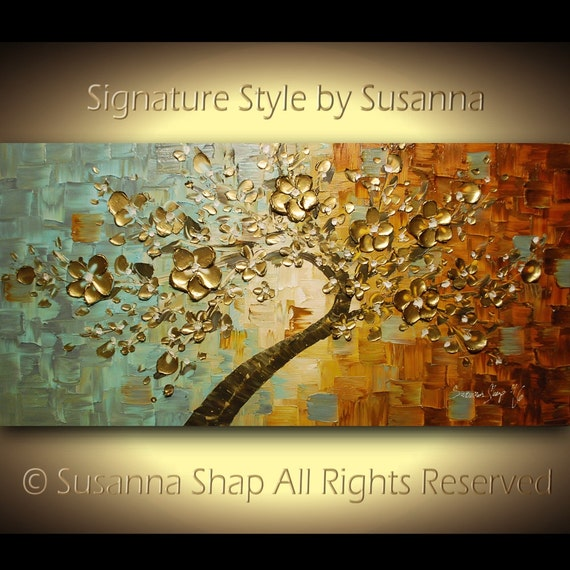 cherry blossom gold tree painting large original bonsai abstract wall art textured modern palette knife landscape painting by susanna