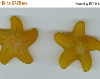 CLEARANCE Large Starfish Saffron Yellow 32mm Sea Glass Pendant Bead Set of 2