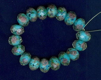 12x9mm Blue Lampwork Faceted Glass Rondelle Flower 12mm Bead beads 0108