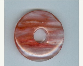SALE 45mm Cherry Quartz Donut Pendant Bead 815S2