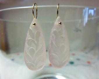 Natural Rose Quartz Carved Leaves Teardrops, and 14K Solid Yellow Gold Earwires