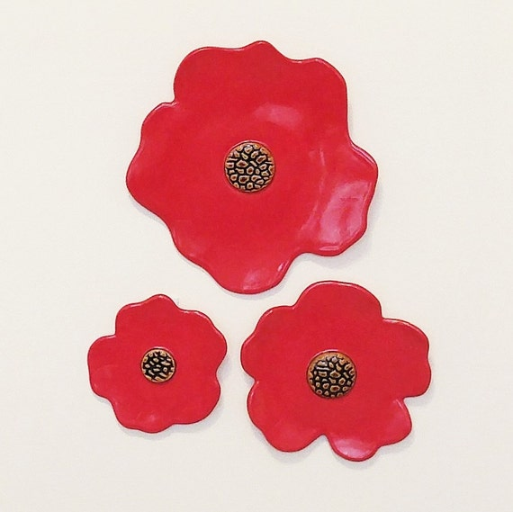 Poppy - Flower Art - Art Decor - Ceramic Wall Art - Red Poppy - Red Art - Poppy Wall Art - Wall Art - Stoneware - Wall Hanging - Poppy Art