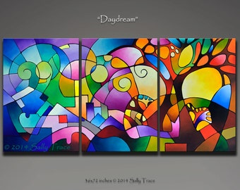 Abstract Painting, Original Painting, Acrylic Painting, Triptych Painting, Tree Painting, Abstract Landscape, Geometric Art, 72x36