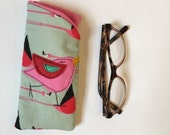 Birdy bird Retro inspired Padded Fabric Eyeglass Case