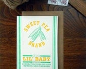 letterpress new baby potato sack feed sack inspired greeting card sweet pea sweetest lil' baby