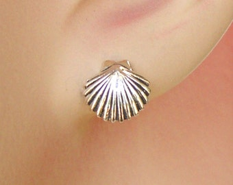 Sterling Silver Earrings Tropical Scallop Sea Shell Ear Studs no. 3465