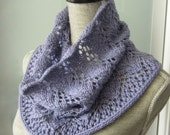 Women Wool Lace Knit Cowl Scarf  - Vines Lace Cowl Snood Hoodie Scarf - Made to Order