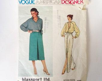 Vintage Vogue American Designer Blassport Sewing Pattern 80s Bill Blass Blouse and Skirt Vogue 2095 34 Bust