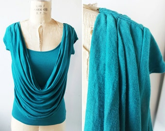 Anthropologie Top Anthropologie Tee Cowl Neck Top Cowl Neck T-shirt Drapey Top Drapey Tee Turquoise Blue US Sz Small