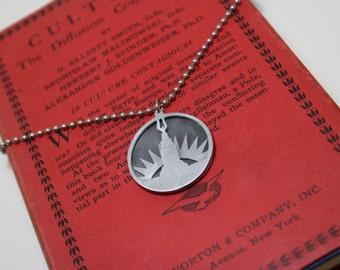 Bioshock Welcome To Rapture Hand Cut Aluminum Art Deco Necklace