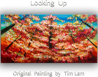 Landscape Painting Wall art Original abstract painting Looking Up forest Oil painting canvas Modern decor Wall hanging by Tim Lam 48x24
