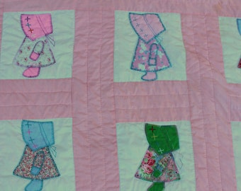 Vintage Quilt - Sunbonnet Sue - Pink Colorful - Dolls Country Quilt Twin Full Queen