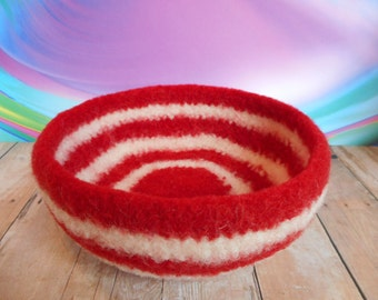 Felted Whatnot/Ring Bowl, Handmade, Wool, Valentines Day Colors, Red And White Striped