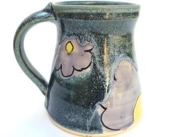 Flower mug 14-16 oz wheel thrown pottery blue green