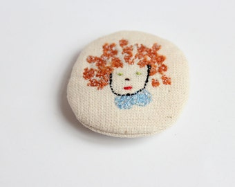 little animals pin - girl with a curly hair