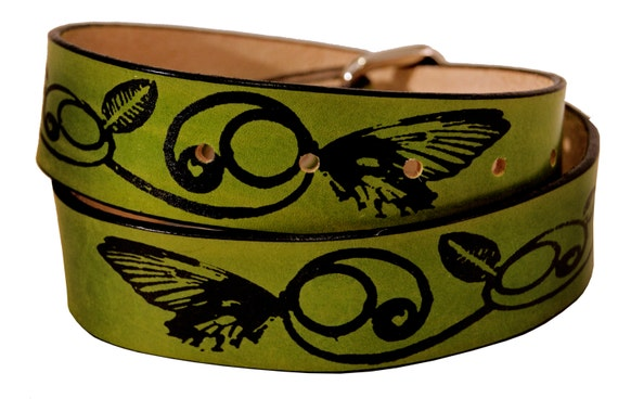 Butterfly and Vines Leather Belt