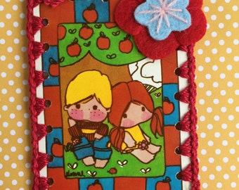Vintage Playing Card Book Mark / Ornament / Tag -  Crochet Apple Tree Kiddies
