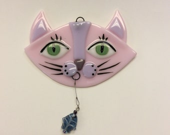 Fused Glass Suncatcher-Pink and Purple Cat with Fish
