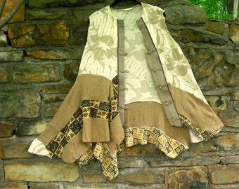 Plus Size Up cycled Leo Narducci Silk Tunic gypsy clothing hippie boho chic lagenlook tunic boho clothing wearable art FREE U.S. SHIPPING