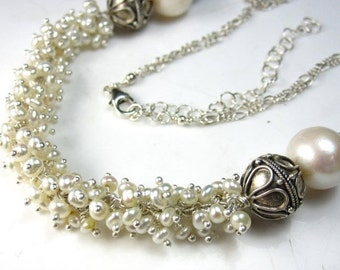 SALE Pretty in White Necklace - Freshwater Pearl and Bali SIlver