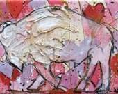 Buffalo Painting - Valentine's Day Buffalo - Small Original Painting - Bison painting - Buffalo NY - Buffalo Gift - Buffalove