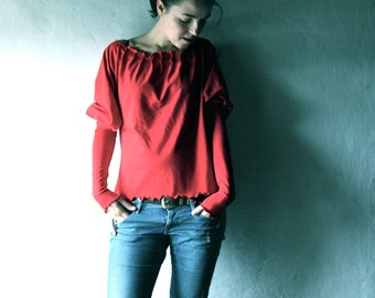 Red top, Women Blouse, Long sleeve shirt, Sweatshirt, Cotton blouse, Jersey top, Long sleeve top, Medieval blouse, maternity top, Plus size