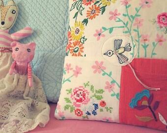 Pillow with a little bird