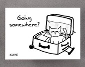 Angry Cat Does Not Approve of your Travel - Funny Bon Voyage Card for Cat Lovers