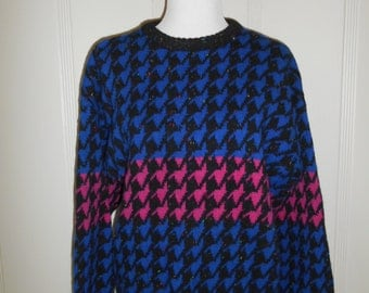 WOOL Vintage Beautiful Abstract Sweater  80s 90s