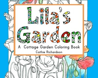 Poppy Flowers Coloring Book Garden Cats Birds Bugs