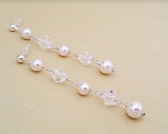 Long Pearl Crystal Earrings, Long Bridal Earrings, Ivory Pearl Earrings with Clear Crystals, Wedding Jewellery, DOREEN