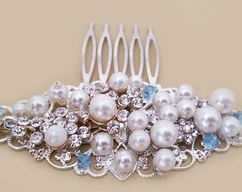 Bridal Hair Comb Pearl, Blue Wedding Hair Accessories, Vintage Style Bridal Comb, Pearl Rhinestone Crystal Comb
