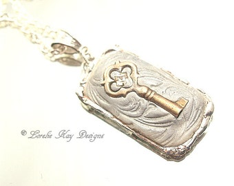 Tiny Skeleton Key Necklace Soldered Clay Key Ring Wide Band Industrial Look Lorelie Kay Orignal