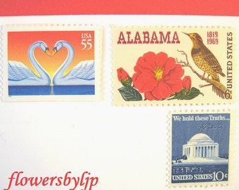 Wedding Postage Stamps 2018 rate, Love Swans - Crimson Camellia Flower - Jefferson, Mail 20 Southern Wedding Invitations 2 oz 71 cents, UVA