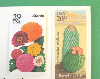 Summer Flowers + Desert Cactus Postage Stamps, 49 cent Vintage Unused Stamps, Mail 10 Letters Cards RSVPs 1 oz, Southwestern floral stamps