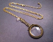 Magnifying Pendant Necklace, Gold and Glass Charm Necklace, FREE Shipping U.S.