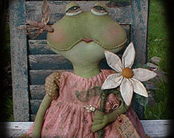 Primitive E-PATTERN Frog Doll Daisy and Dragonfly PDF