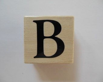 Letter B Stamp - Shades of Sorbet Collection - Wood Mounted Rubber Stamp - Alphabet Letter B Stamp