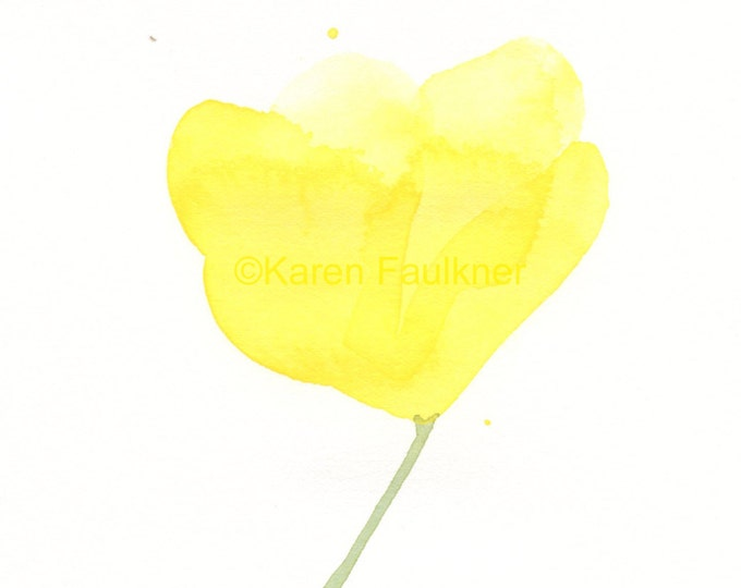 """Original watercolor painting of an abstract yellow flower: """"Buttercup"""""""