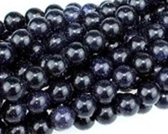 8mm Blue Goldstone Round Beads (50 per strand)
