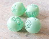 RESERVED FOR TANIA Vintage Japan 1950s Rare Translucent Green with Dotted Crumbs and Drizzle Handmade Lampwork Beads - 10mm - Lot of 8