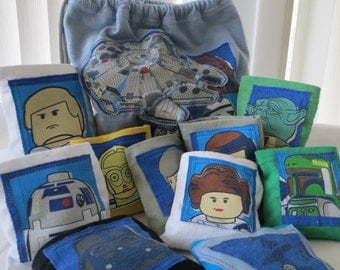 Star Wars set of Laundry Pillows with drawstring bag Upcycled from TShirt Lego FREE SHIP