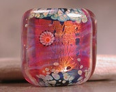 Lampwork Focal Bead Square Nugget Fire Opal Divine Spark Designs SRA