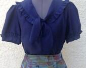 Vintage 80s navy blue ruffle sailor blouse ~ button front ~ retro ~ Kawaii