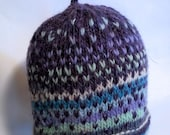 Handspun toddler hat, Air to Purple. A soft wool and sparkle hat to keep your precious one warm. OOAK