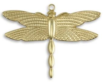 2 Patterned Wings Dragonfly 27.5x36mm, Vintaj Vogue Pendants, 1 Piece, Raw Brass 27.5x36mm (PV056)