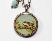 Little Bird on a Branch Hand Painted Necklace