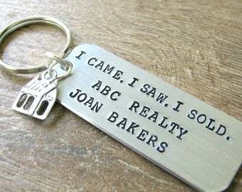 Personalized Realtor Keychain with house charm, read listing for wording specs, realtor gift, realty, gift for realtor, broker, K-ALB