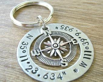 Longitude Latitude Keychain, GPS coordinates keychain, alkeme washer, location keychain, navigation, wedding gift, anniversary gift